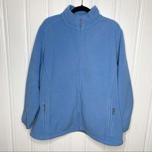 Lands' End Blue Fleece Zip Jacket Size 2X(20W-22W)